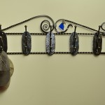 Wrought steel coat rack by Jim Davis