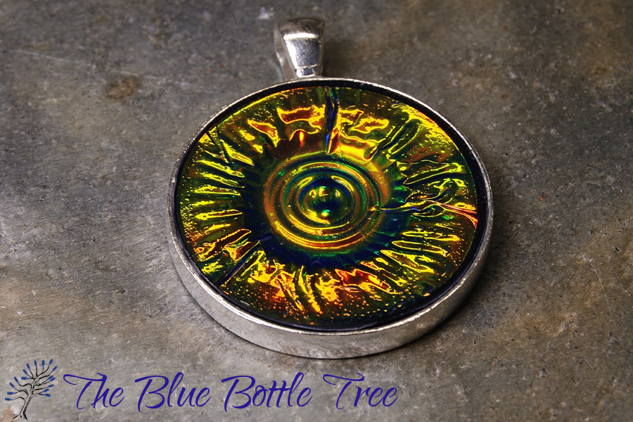 Holo effect pendants the blue bottle tree image of bronze and green circular holographic effect pendant made from polymer clay mozeypictures Image collections