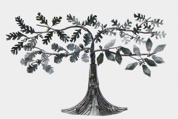 Picture of steel sculpture of a stylized oak tree, each limb being a different kind of oak leaf.