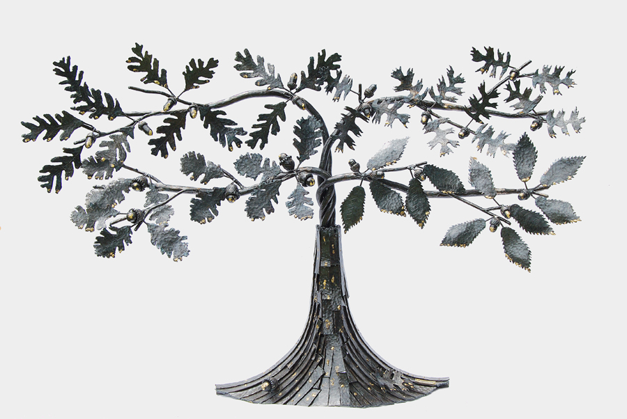 Picture of steel sculpture of a stylized oak tree, each limb being a different kind of oak leaf, by metalworking artist Jim Davis.