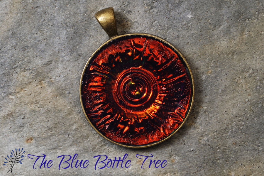 Holo effect pendants the blue bottle tree image of reddish orange pendant with circular holographic effect made from polymer clay mozeypictures Image collections