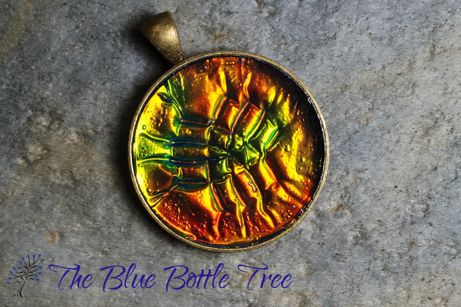 Holo effect pendants the blue bottle tree image of holographic effect pendant made from polymer clay mozeypictures Image collections