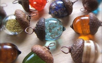 Glass Acorn Beads by Bullseye Beads