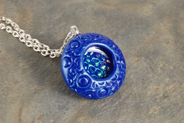 Blue Circles Necklace with Holographic Effect Inset
