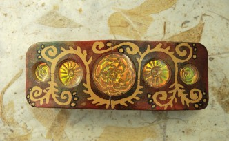 Polymer Clay barrette made with batik and Holographic Effect Technique.