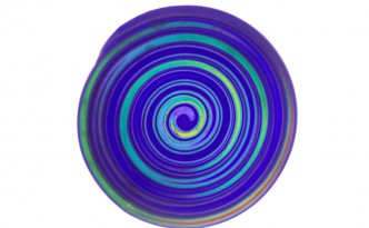 Purple and blue spiral suncatcher made from extruded polymer clay.