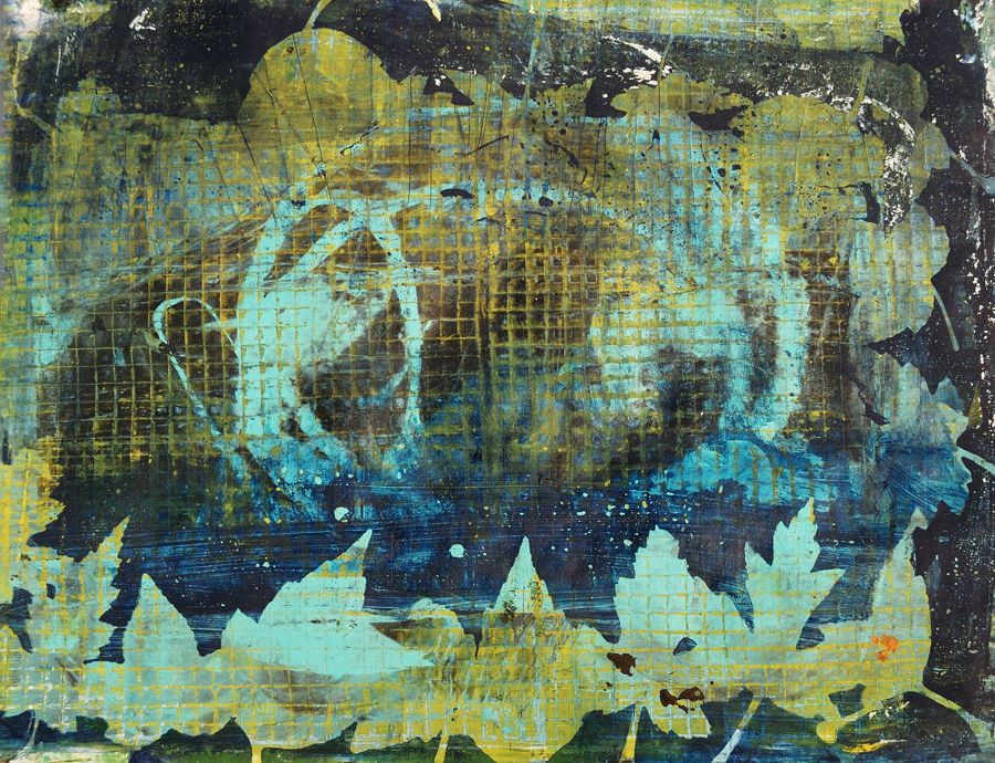 Gelatin monotype print with blues and browns and leaves