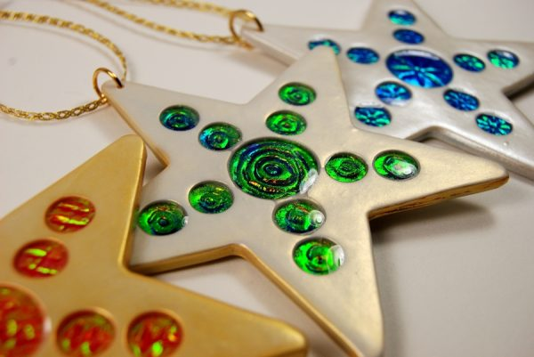 Holo Effect Christmas Ornaments with shiny bright circles