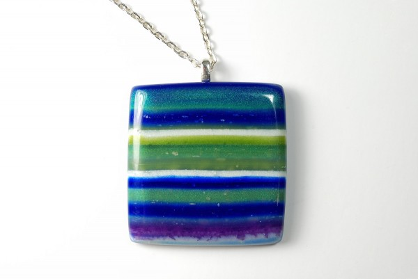 Blue striped polymer clay pendant made from SCDiva's Controlled Marbling Tutorial