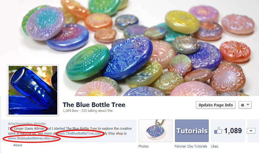 Make sure that your Facebook page includes your real name, your website, and your shop URL in the about section. You want people to know how to address you and also how to find your work. Don't let FB be a barrier to sales!