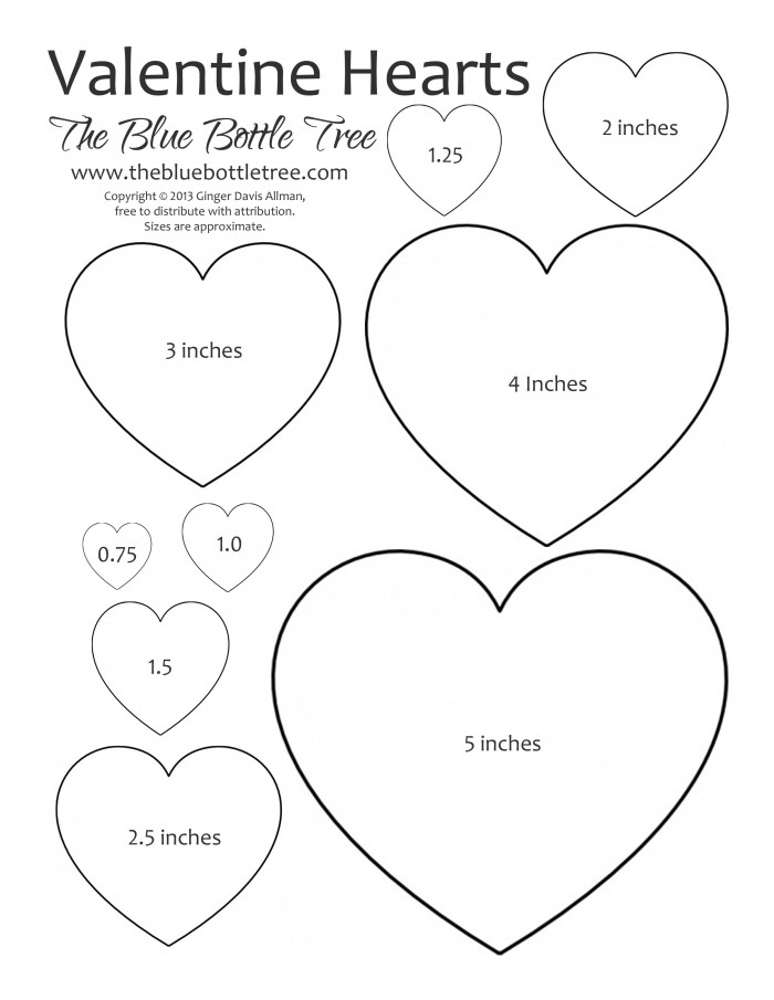 "Valentine Heart Clip Art in various sizes from 5"" to 3/4""."