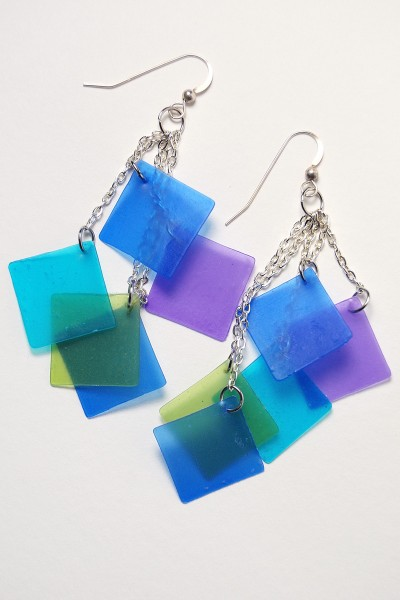 Blue tone squares cascade earrings made from Pardo translucent polymer clay and alcohol inks. Learn more at The Blue Bottle Tree.