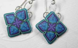 Millefiori Quilty Square Drop Style Polymer Clay Earrings by Dede Leupold http://www.etsy.com/shop/DedeLeupold
