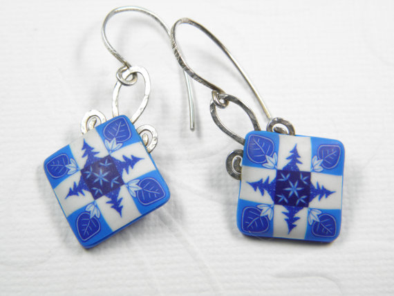 Polymer Clay Four Tree and Leaves Dangle Earrings by Dede Leupold http://www.etsy.com/shop/DedeLeupold