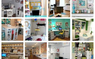 Pictures of many craft rooms featured on a blog.