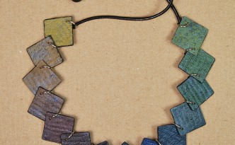 Necklace made with polymer clay tiles in a gradient or rainbow pattern but with a faux distressed finish.