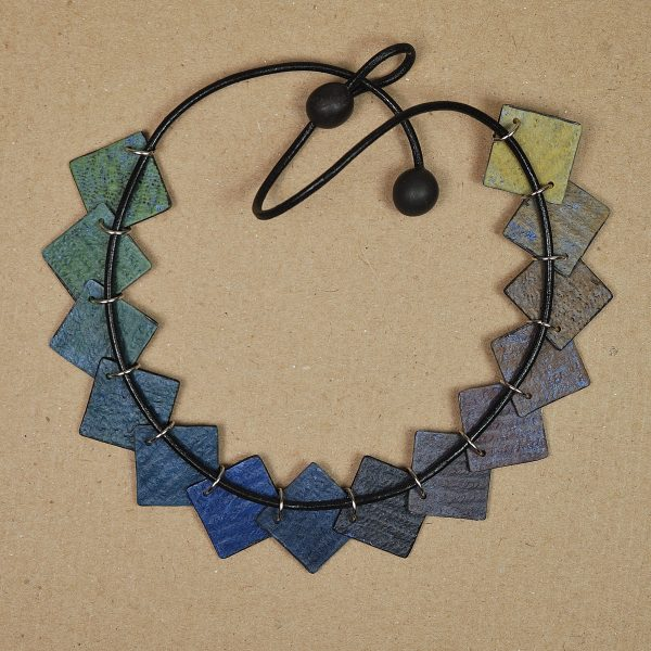 Necklace showing the back side where the connections are made with jump rings.