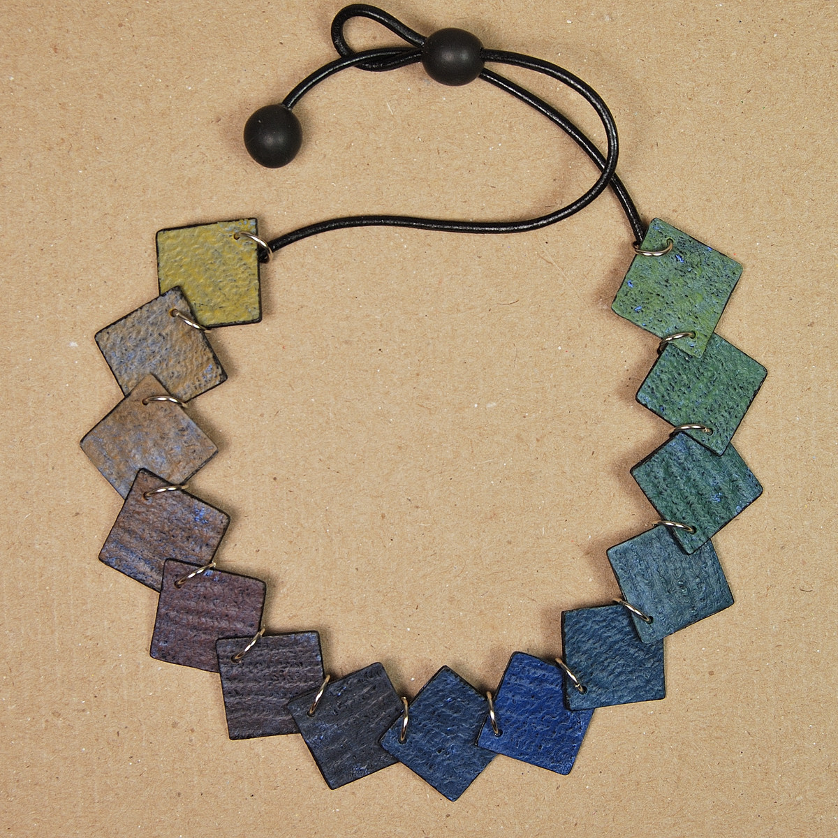 Distressed Rainbow Polymer Clay Necklace