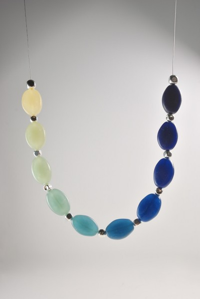 Graduated Colors necklace featuring translucent Pardo art clay tinted with Alcohol Inks.