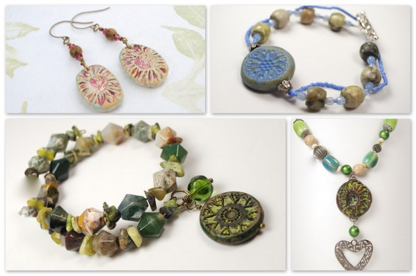 Earrings, bracelets, and necklace created with Rustic Charms and Beads from The Blue Bottle Tree's Rustic Beads and Components Tutorial.