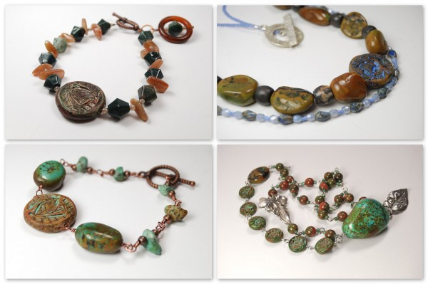 Bracelets and necklaces made with Rustic Beads created by The Blue Bottle Tree, made from her Rustic Beads and Components Tutorial.