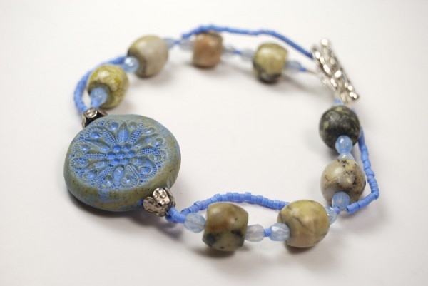 Bead Soup Bracelet featuring periwinkle Rustic Connector bead by The Blue Bottle Tree.