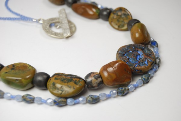 Bead Soup Necklace featuring Rustic Focal Bead by The Blue Bottle Tree.