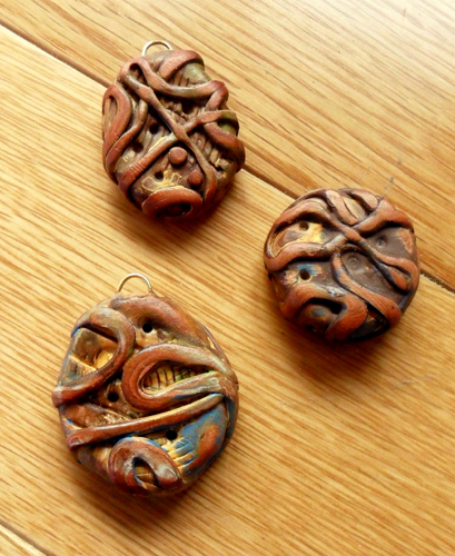 Cheryl Coville made these polymer clay beads using the Rustic Beads and Components Tutorial by The Blue Bottle Tree