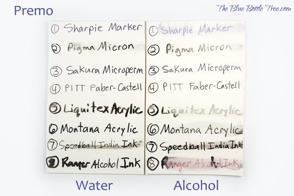 Comparison of water and alcohol resistance of black inks on Premo polymer clay by The Blue Bottle Tree.