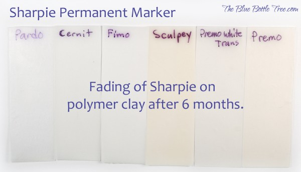 Fading of Sharpie marker on various brands of polymer clay. Article by The Blue Bottle Tree.