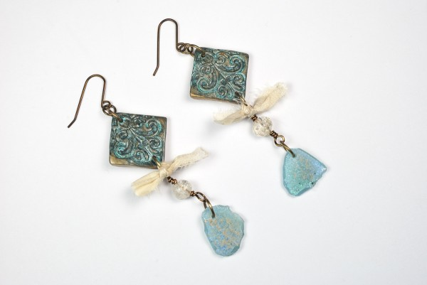 Earrings created from polymer clay by The Blue Bottle Tree. Note the faux Roman Glass.