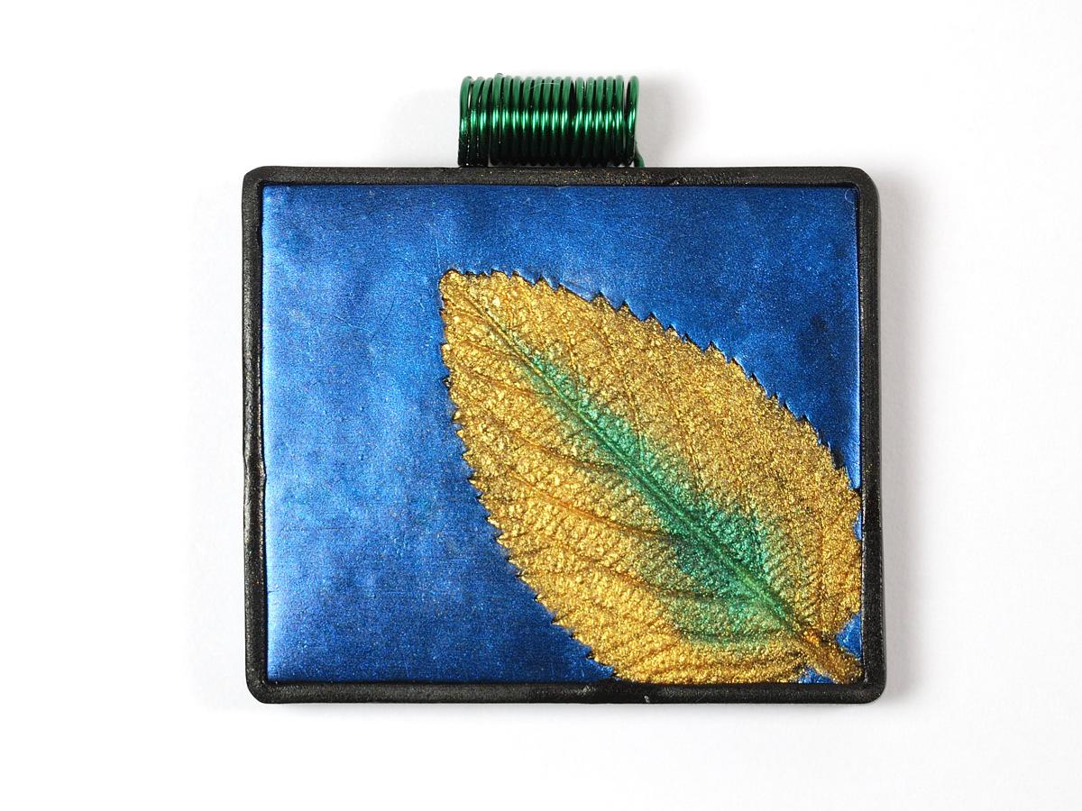 Blue Mica Leaf Pendant