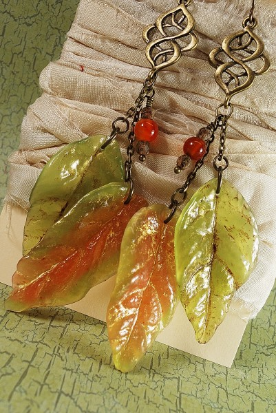 Faux Glass leaves from polymer clay using the Patchy Molds. Made by The Blue Bottle Tree.