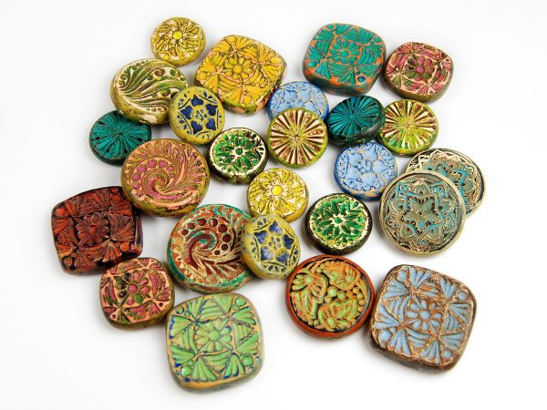 Rustic Beads made from polymer clay by Ginger Davis Allman of The Blue Bottle Tree.