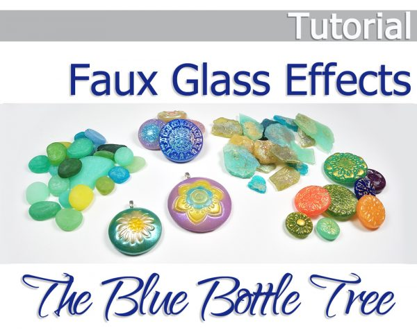 Faux Glass Effects in Polymer Clay Tutorial by The Blue Bottle Tree. Five gorgeous techniques. Roman glass, sea glass, Czech glass, Carnival glass, and a hollow Aurora Dome.