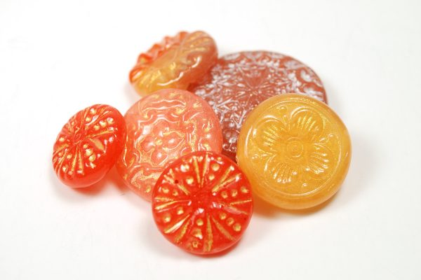 Orange, pink, and red faux Czech glass beads by The Blue Bottle Tree. Polymer clay tutorial available.