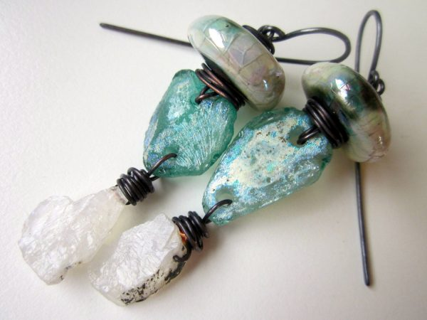 Roman glass and moonstone earrings by Nikki Zehler of Love Root.