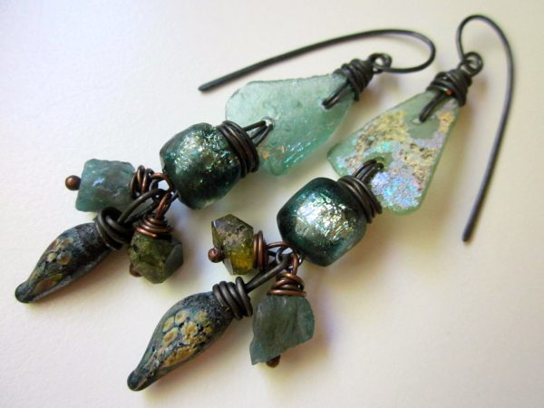Earrings made with Roman Glass by Nikki Zehler of Love Root.