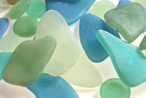 Faux sea glass made from polymer clay using the Faux Glass Tutorial from Ginger Davis Allman.