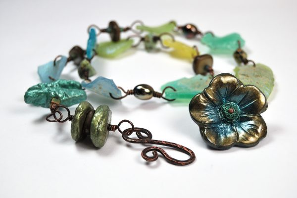 Double wrap bracelet made with faux Roman Glass and faux Biwa pearls with polymer clay by The Blue Bottle Tree.