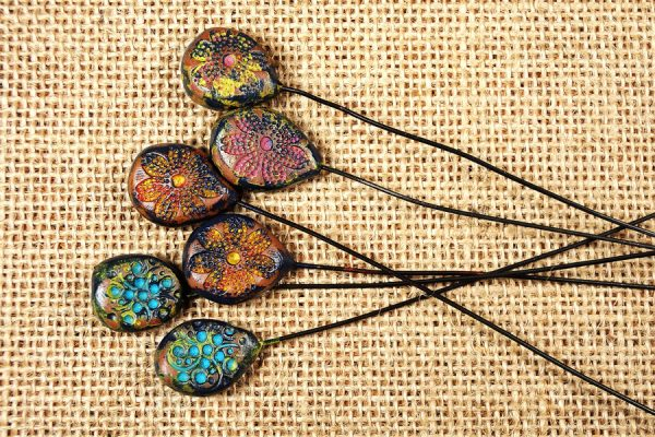 Rustic polymer clay headpins made with the Rustic Beads and Components Tutorial by The Blue Bottle Tree.