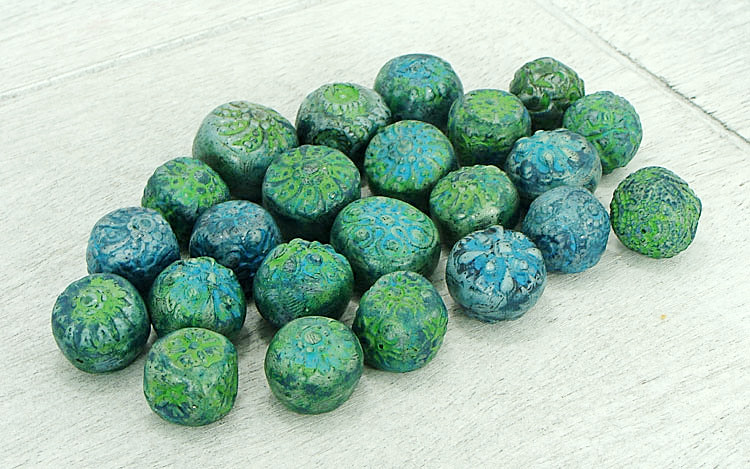 Polymer Clay Beads by Abaloriart made with the Rustic Beads and Components Tutorial by The Blue Bottle Tree
