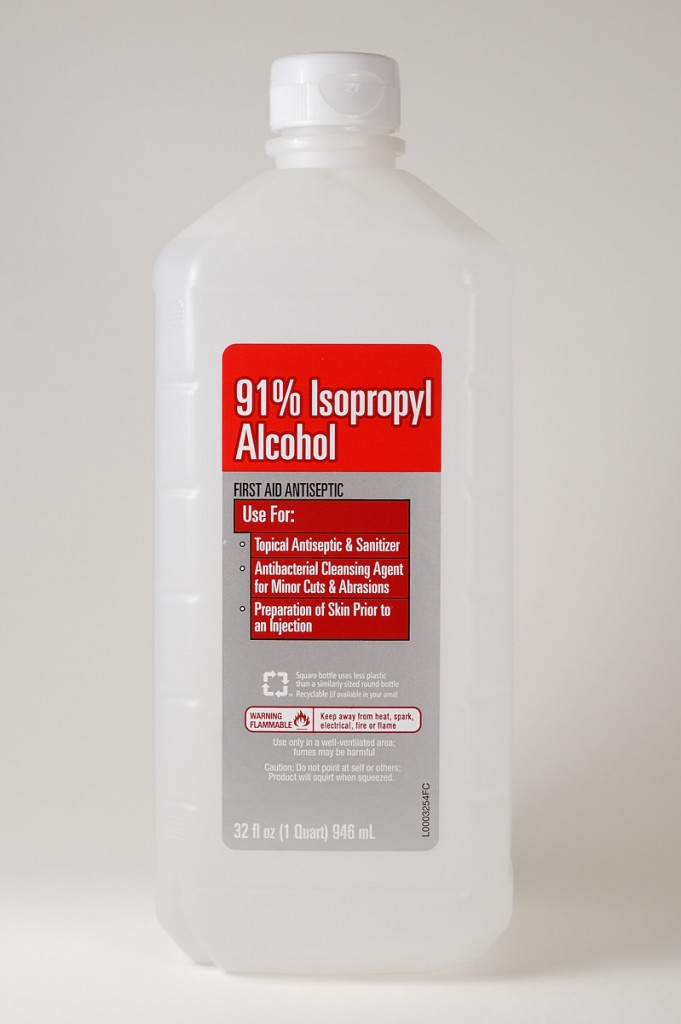 I use 91% isopropyl alcohol in my polymer clay studio.