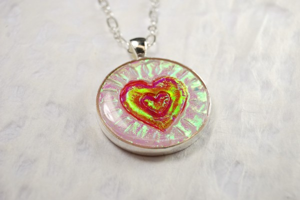 Pendant with Holo Effect Heart design by The Blue Bottle Tree.