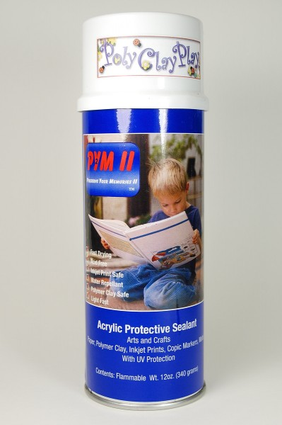 PYM II polymer clay spray sealer is safe for polymer clay. Read a review at The Blue Bottle Tree.