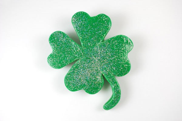 Polymer clay shamrock crafted last minute for my kids to wear to school.