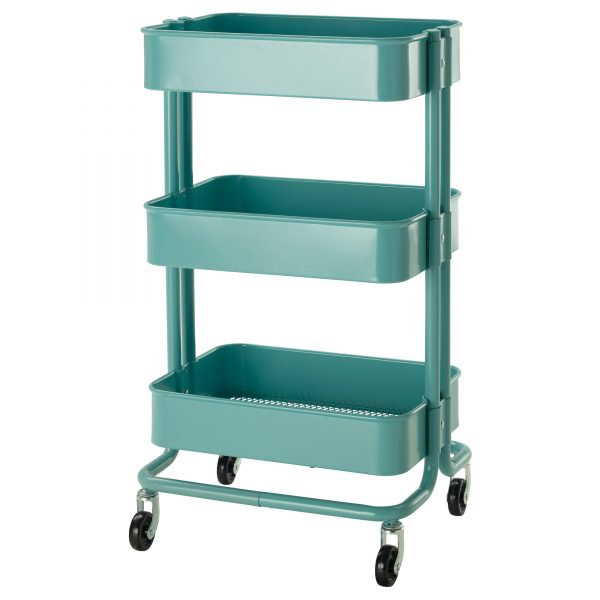 The Ikea Raskog cart is a favorite for crafters because of its narrow profile and stable wheel base.