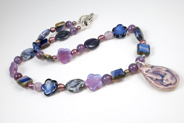 Blue and purple beaded necklace for the 8th Bead Soup Blog Party.