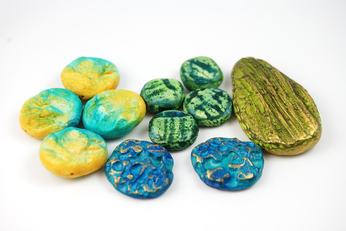These organic beads in bright colors were made using the Organic Beads Tutorial by The Blue Bottle Tree.