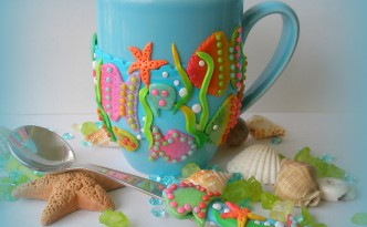 polymer clay covered spoon and mug by Klio